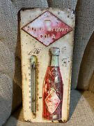 Vintage Rc Royal Crown Cola Metal Advertising Soda Thermometer Sign 13.5x5.75andrdquo