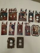 Western Decor Switch Plate Covers Lot Of 12- Horses Cowboys Roping Calves