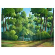 Green Jungle With Dense Trees - Oversized Landscape Glossy Green 40 In. Wide X 3