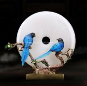 15and039and039 Classical Furniture Decorate Statue Bronze Crafts Flower Bird Imperial Jade