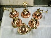 Nautical Marine Cargo Smooth Brass And Copper Pendant/ceiling/wall Light 6 Pieces