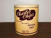 Vintage Kitchen 9 1/2 High Charles Chips Potato Chip Metal Tin Can Empty