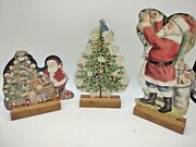 Vintage 2-sided Christmas Cardboard Decorations On Wooden Stands Lot Of 13 23