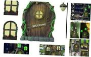 Miniature Fairy Door And 2 Windows And Fairy Lantern For Trees 4 Piece Set -