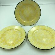 Set Of 3 Stangl Pottery Town And Country Yellow Sponge Design Dessert Plates 8.25
