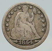 1854 United States Us Silver Seated Liberty Antique Silver Half Dime Coin I92082