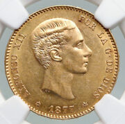 1877 Spain King Alfonso Xii Gold 25 Pesetas Antique Spanish Coin Ngc Au58 I92182