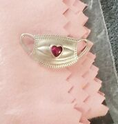 Hero Face Mask Pendant/charm With Simulated Ruby .75 Ctw 1.90gms Sterling Silv
