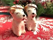 Occupied Japan Spotted Terrier Dogs Salt And Pepper Shakers In Berets 5-hole 2.5andrdquo