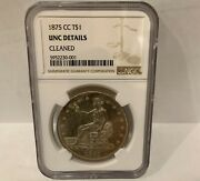 1875 Cc Carson City Trade Dollar - Ngc Uncirculated Details - Strike Doubling