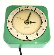 National Time Kitchen Clock Hammond Teal Green 50s Mcm Vintage Not Working