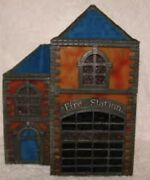 Forma Vitrum Fire Station Vitreville - Lighted Stained Glass Collectible
