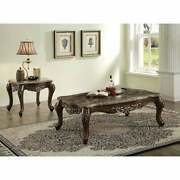 Acme Latisha Marble And Antique Oak End Table Brown Vintage