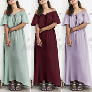 Womens Summer Off Shoulder Lace Up Beach Sundress Casual Long Swing Dresses Puls