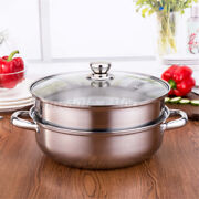 2 Tier 27cm Stainless Steel Food Steamer Pot Pan Vegetable Cooker With Glass Lid