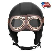 Vintage Leather Open Face Half Helmet Resistant Goggles For Motorcycle Scooter