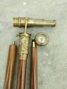 Antique Working Telescope And Compass Handle Dollond London Walking Stick Cane