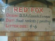 Old Zoo Wooden Sign, Red Fox,origin Usa,canada,europe,diet Rodentsandpoultry