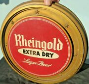 Rheingold Extra Dry Lager Beer Chalk Ware Reverse Painted Back Bar Vintage Sign