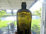 Early Case Gin Liquor Antique, Olive Green Applied Blob Top 1800's Glass Bottle