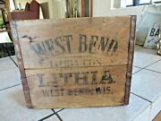 West Bend Lithia, Wisconsin Old Wood Beer Crate For 6-32 Oz Bottles, Rare Find