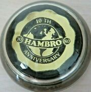 Hambro 10th Anniversary Solid Glass Vintage Advertising Desk Company Paperweight