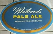 Whitbread's Pale Ale Beer Imported From England Rare Metal Over Cardboard Sign