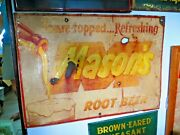 Original Mason's Root Beer Antique Soda Pop Soda Fountain Old Time Sign