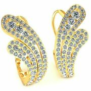 Natural 2.75ctw Round Cut Diamond Ladies Lever Back Earrings Solid 18k Gold
