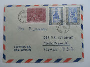 Discount Stamps Poland 1961 Air Mail Cover Used To Miami Florida Usa