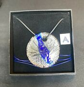 Clear And Blue Murano Glass Disc Pendant 925 Sterling Silver Leaf Cert Of Origin