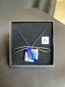 Clear And Blue Murano Glass Square Pendant 925 Sterling Silver Leaf Cert Of Origin