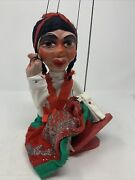 """Vintage Marionette String Puppet Mexican Seniorita Handcrafted 14"""" See Desc"""