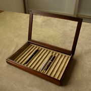 Toyooka Craft High Class Luxury Wooden Pen Tray Display Case Made In Japan