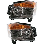Headlight Set For 2008-2015 Nissan Armada Left And Right With Bulb Capa 2pc