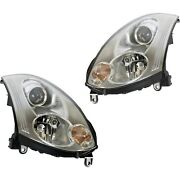 Headlight Set For 2006-2007 Infiniti G35 Coupe Left And Right Hid With Bulb 2pc