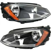 Halogen Headlight Set For 2015 Volkswagen Gti Left And Right W/ Bulbs Pair