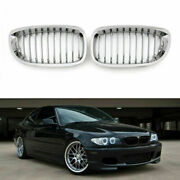 Car Front Fence Grill Grille Chrome Mesh For Bmw E46 2 Doors 03-05 3 Series Ep