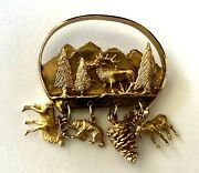 Gorgeous Heavy 14k Solid Yellow Gold Nature Brooch With Charms Elk Bear Mountain