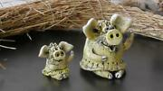 The Author Ceramic Pigs Encouragement For A Good Mood. 2 Pieces Beautiful