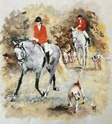 Yary Dluhos Original Art Oil Painting Equestrian English Riders Hounds Horses