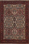 Antique Geometric Hamedan Oriental Area Rug Wool Hand-knotted Ivory Carpet 4and039x5and039