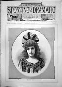 Antique Old Print Portrait Miss Alice Brookes Young Woman Curly Hair Hat 1893