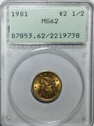 1901 2 1/2 Gold Coin Quarter Eagle - Pcgs Ms62 Old Holder - Great Luster