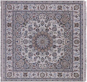 6and039 Square Nain Wool And Silk Hand Knotted Rug - Q9330