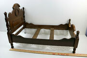 Antique Vintage Wooden Doll Bed High Back 23 Long X 15 Tall Victorian Ornate