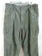 Us Army M 1951 Vintage Green Cotton Twill Military Cargo Trousers Pants Large