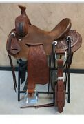 Western Brown Leather Rough Out Leather Roper Ranch Saddle 15161718