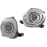 Halogen Headlight Set For 2012-2017 Fiat 500 Left And Right W/ Bulbs Pair Capa