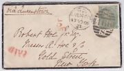 1866 1s Greenfaultsliverpool Via Queenstown Mourning Covernyusapostage Due